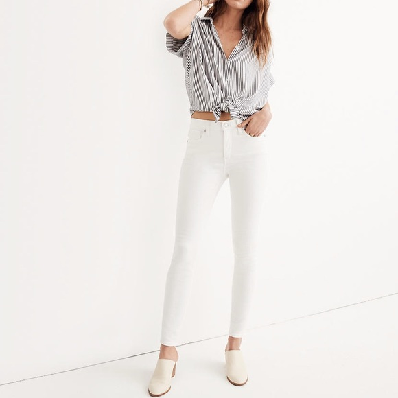 "Madewell Denim - Madewell 9"" High-Rise Skinny Jeans in Pure White"
